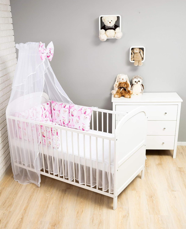 Amilian Baby Nestchen Bettumrandung 210 cm x 35 cm Bettnestchen Kantenschutz Kopfschutz f/ür Babybett Katzen Rosa Grau