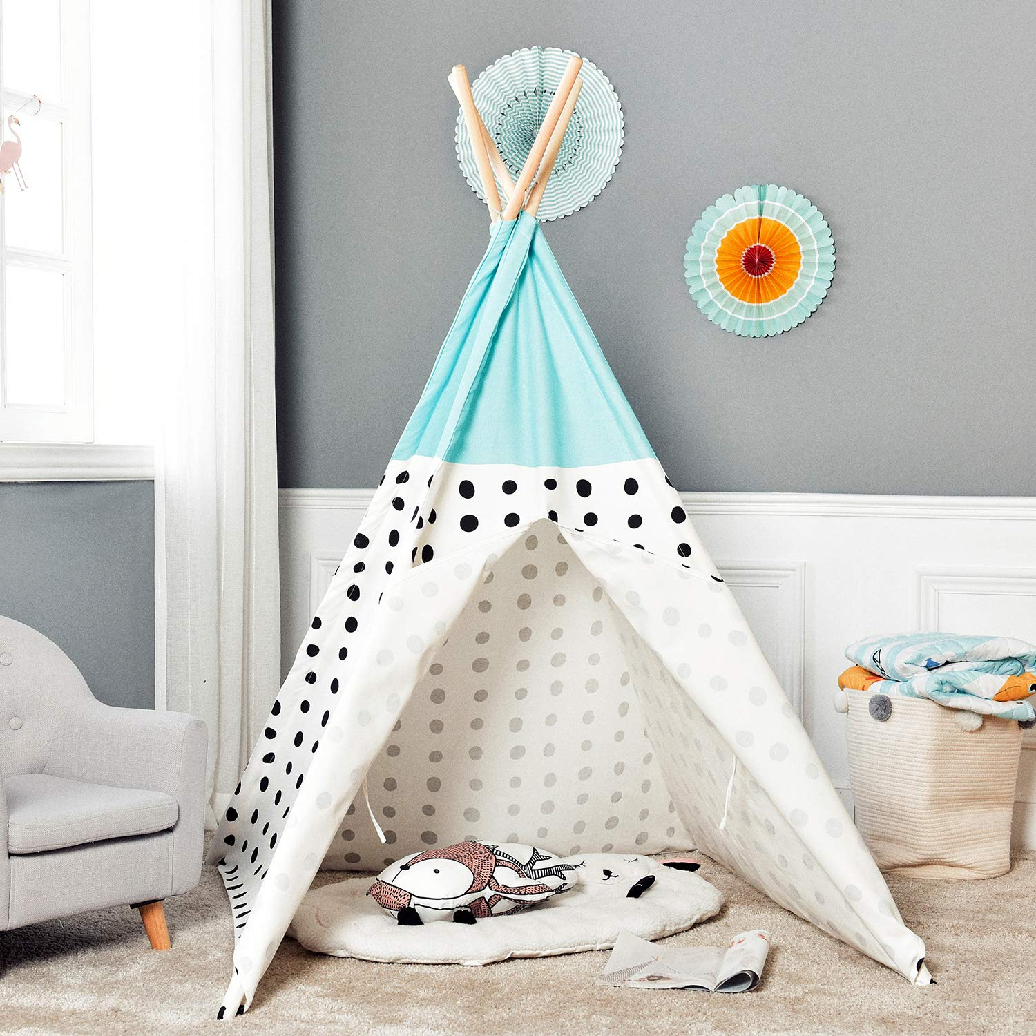 Asweets Teepee Tent for Kids Teepee Play Tent Mat for Boys Indoor Outdoor Play House Tent Indian Canvas Tipi Tent Blue Top Black Point
