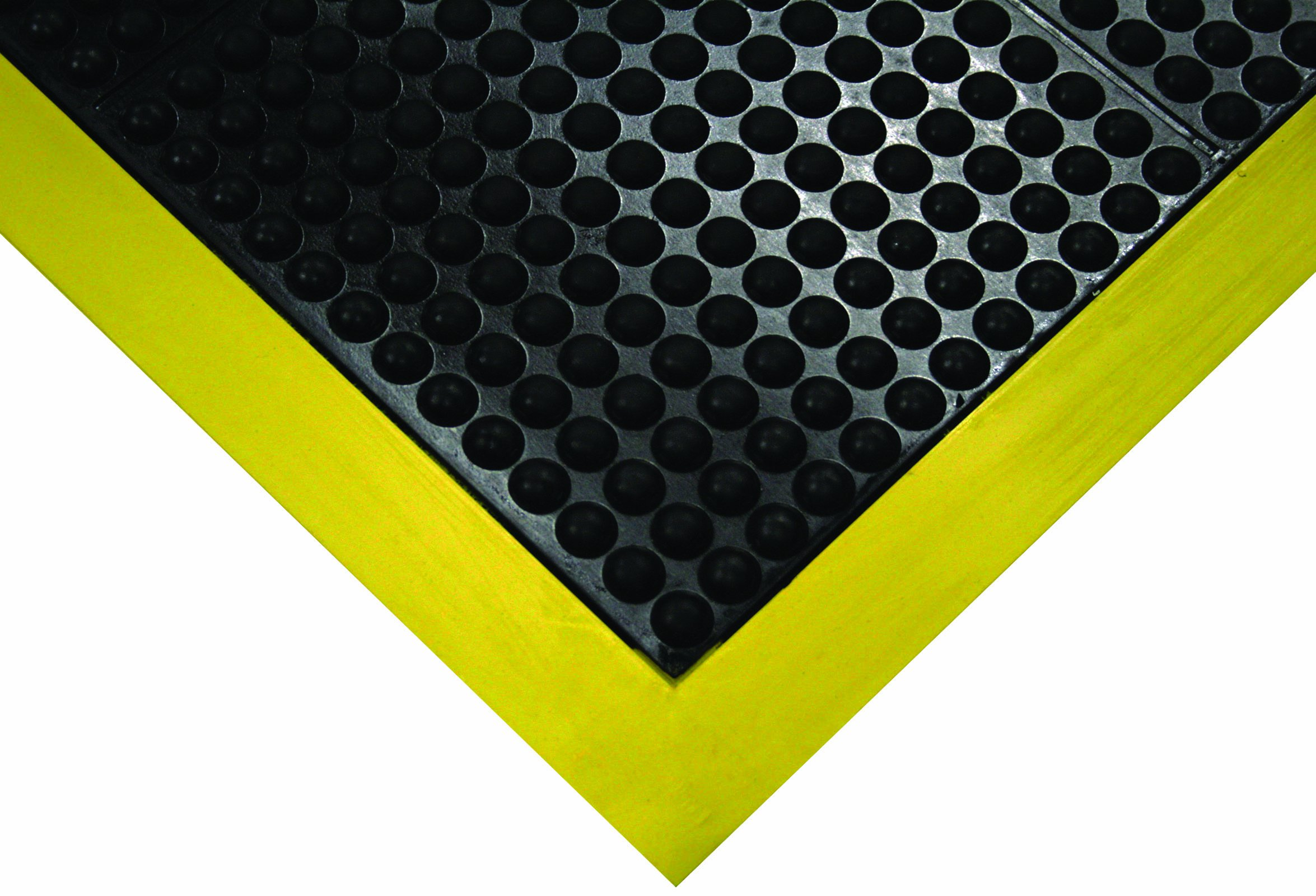 Wearwell Natural Rubber 454 OrthoSand Medium Duty Anti-Fatigue Mat, Safety Beveled Integral Molded Border Edges, for Dry Areas, 2' Width x 3' Length x 1/2'' Thickness, Black/Yellow by Wearwell