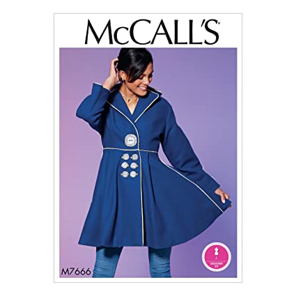 Amazon.com: McCall Patterns M7666A50 Misses Lined Flared Wide Collar Coat