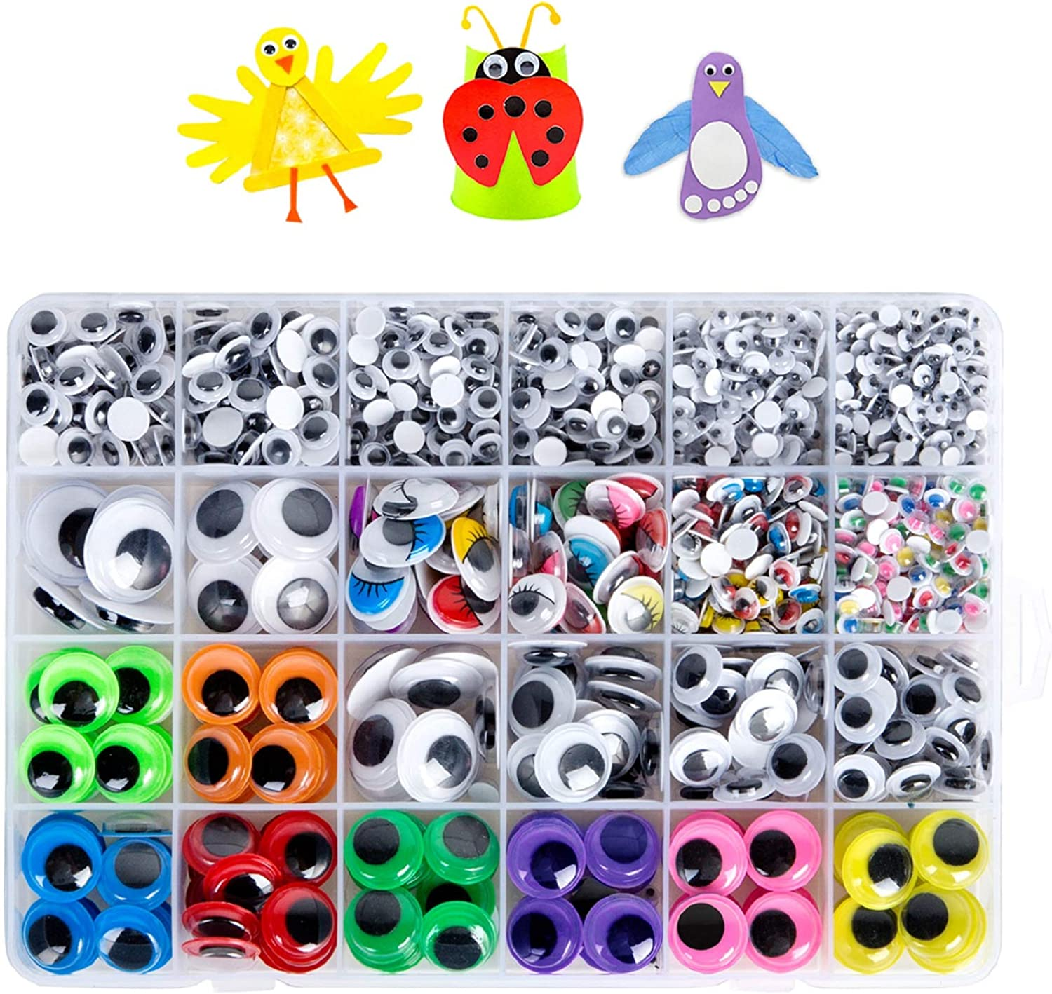 Trafagala 100 Pcs Googly Wiggle Eyes Self Adhesive for Craft Sticker Plastic Wiggle Googly Eyes Self-Adhesive Black Round Sticker Eyes DIY Arts Crafts Scrapbooking Accessories