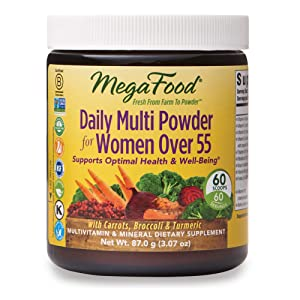 MegaFood, Daily Multi Powder for Women Over 55, Supports Optimal Health, Multivitamin and Mineral Supplement, Gluten Free, Vegetarian, 3.07 oz (60 Servings)