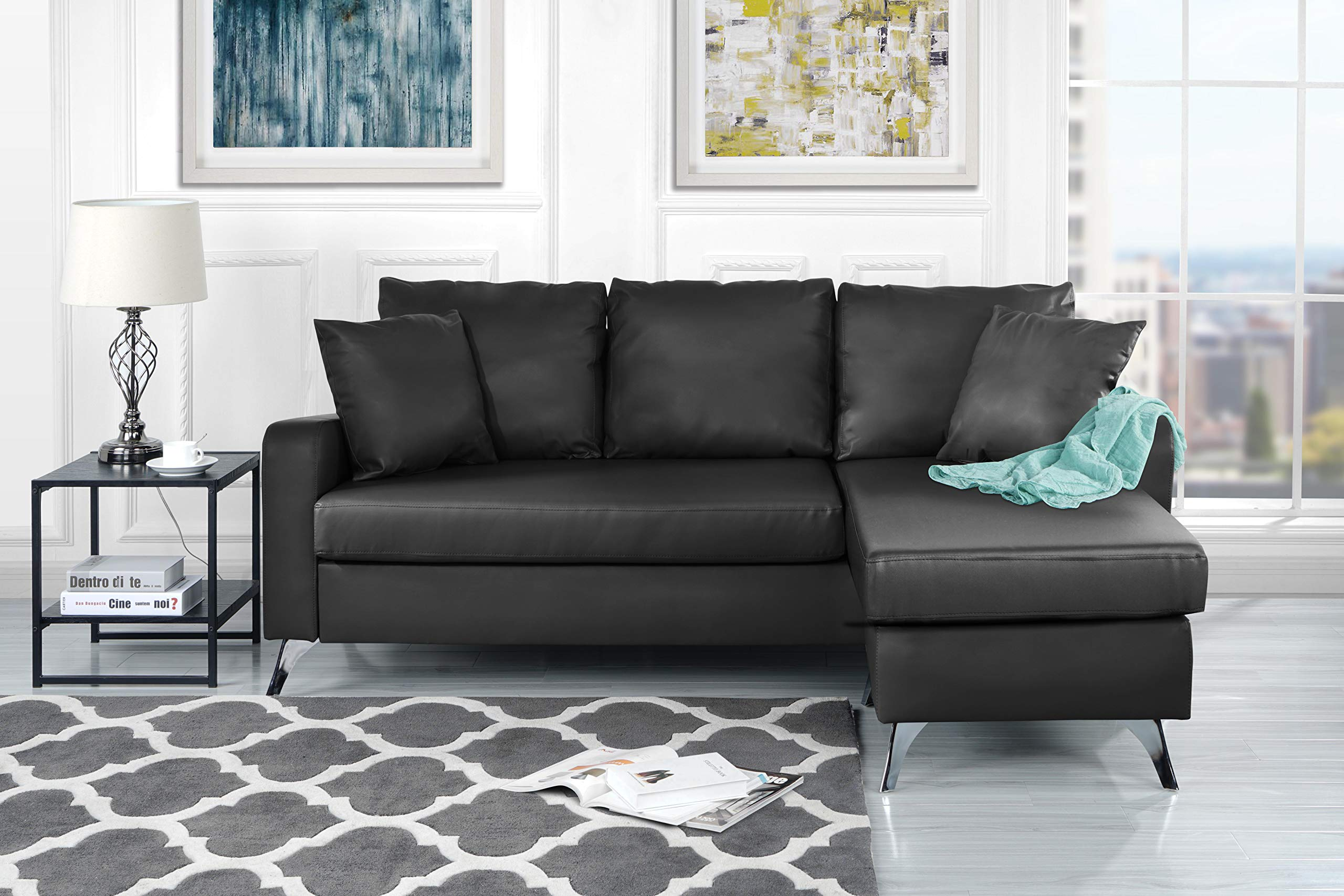 "Divano Roma Furniture Bonded Leather Sectional Sofa - Small Space Configurable Couch (Dark Grey) - Bonded Leather small space reversible chaise sectional sofa Durable bonded leather upholstery with hardwood frame and chrome finish metal legs Measures: 76""W x 54""D x 34""H inches - sofas-couches, living-room-furniture, living-room - 81DUpn%2BPCkL -"