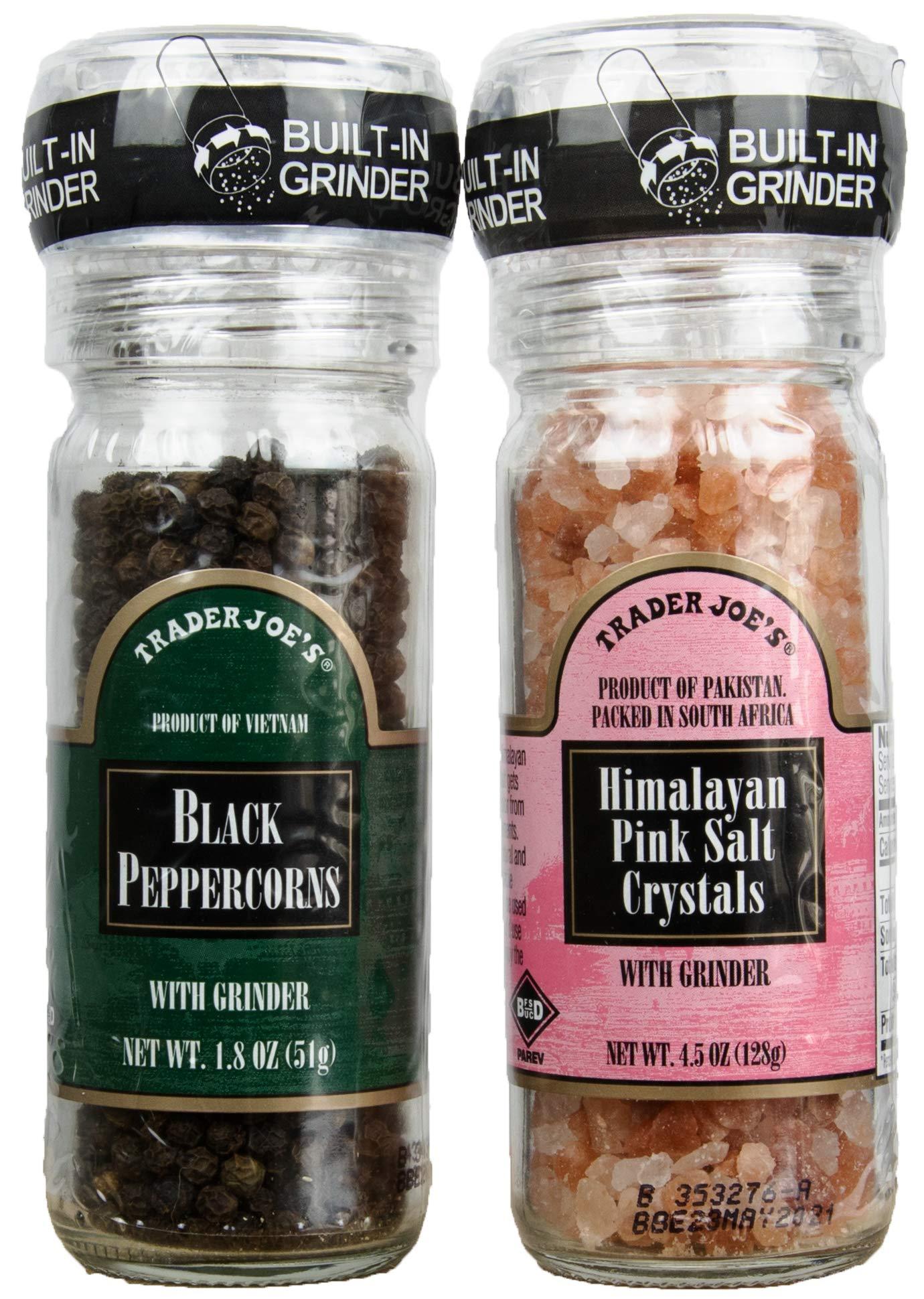 Trader Joe's Gourmet Set with Grinder Tops: Black Peppercorns with Pink Himalayan Salt Crystals