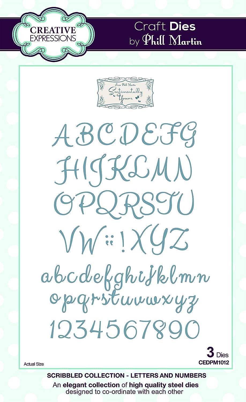 /par Phillip Martin Scribbled Collection Lettres et Chiffres Craft Die Sentimentally Yours/ en M/ÉTAL 18/x 12/x 0.8/cm Argent