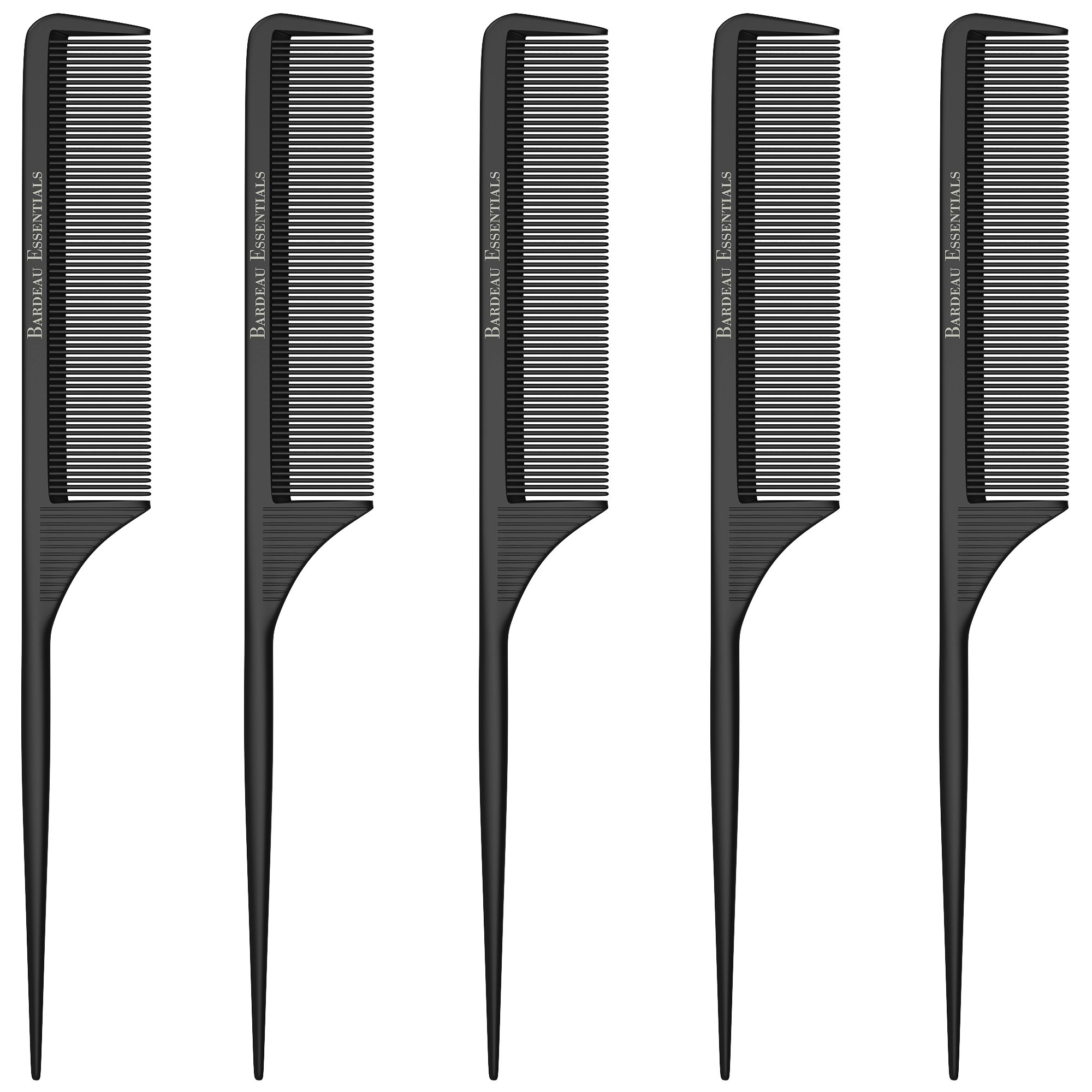 Styling Comb (5 Pack) Professional 8.8'' Black Carbon Fiber Anti Static Chemical And Heat Resistant Tail Comb For All Hair Types | Fine and Wide Tooth Teasing Comb | Men and Women | Bardeau Essentials