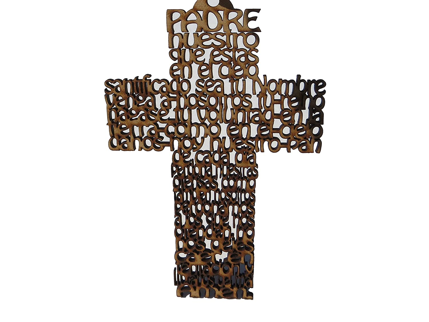 Angelitos De Mexico Wooden Cross With Spanish Our Father Prayer