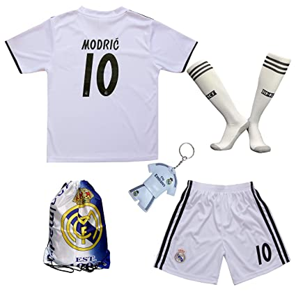 buy online 655ed b6c82 GamesDur 2018/2019 Real Madrid Luka Modric #10 Home Football Soccer Kids  Jersey & Short & Sock & Soccer Bag Youth Sizes