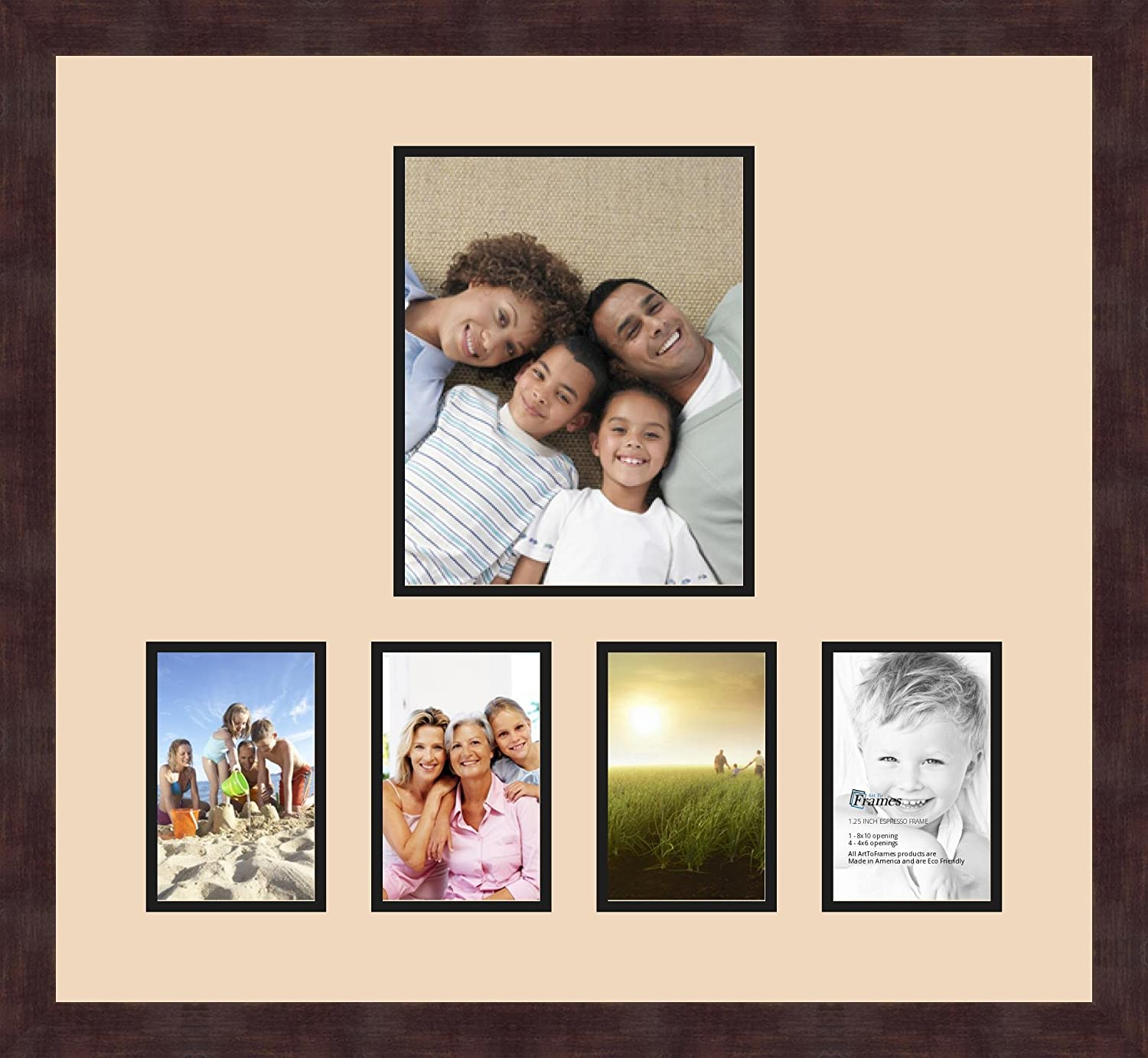 and Espresso Frame Art to Frames Double-Multimat-1072-783//89-FRBW26061 Alphabet Photography Picture Frame with 1-8x10 and 4-4x6 Openings