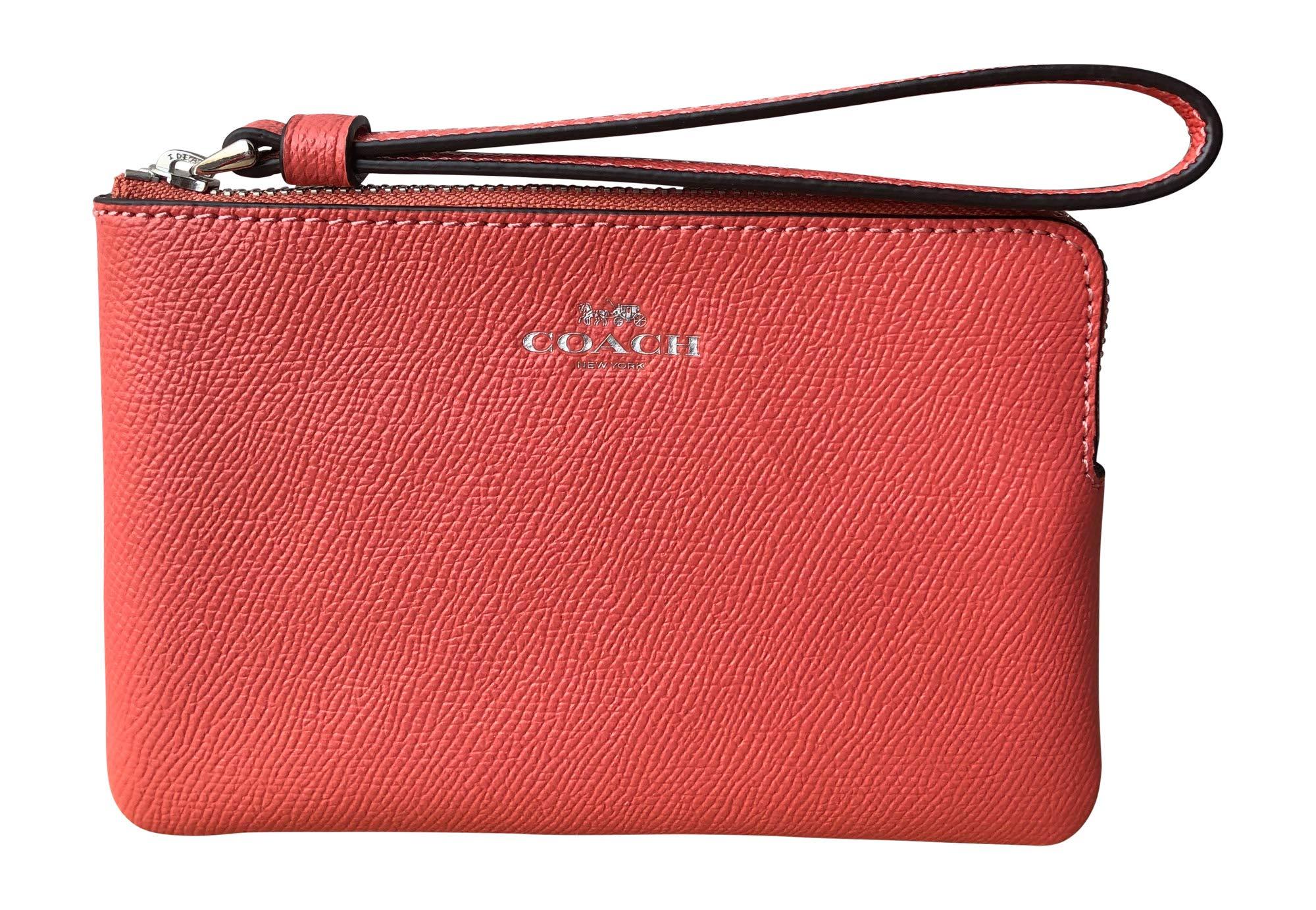 Coach Crossgrain Leather Corner Zip Wristlet (Coral)