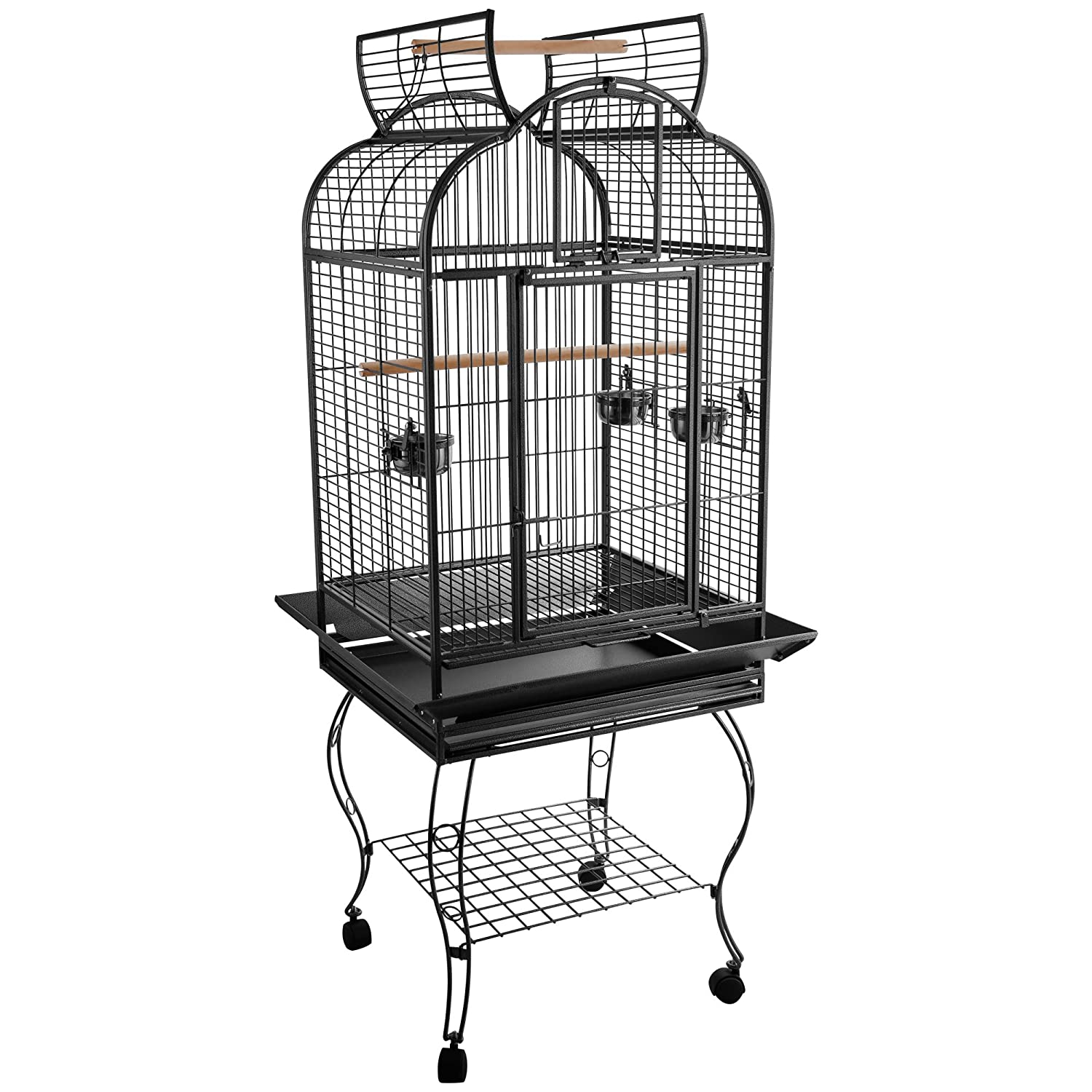PawHut 63-inch Large Bird Parrot Cage Rolling Cockatiel Finch Macaw Aviary Cage Open Play Top with 2 Perch 3 Stainless Steel Cup Pet Furniture Aosom Canada