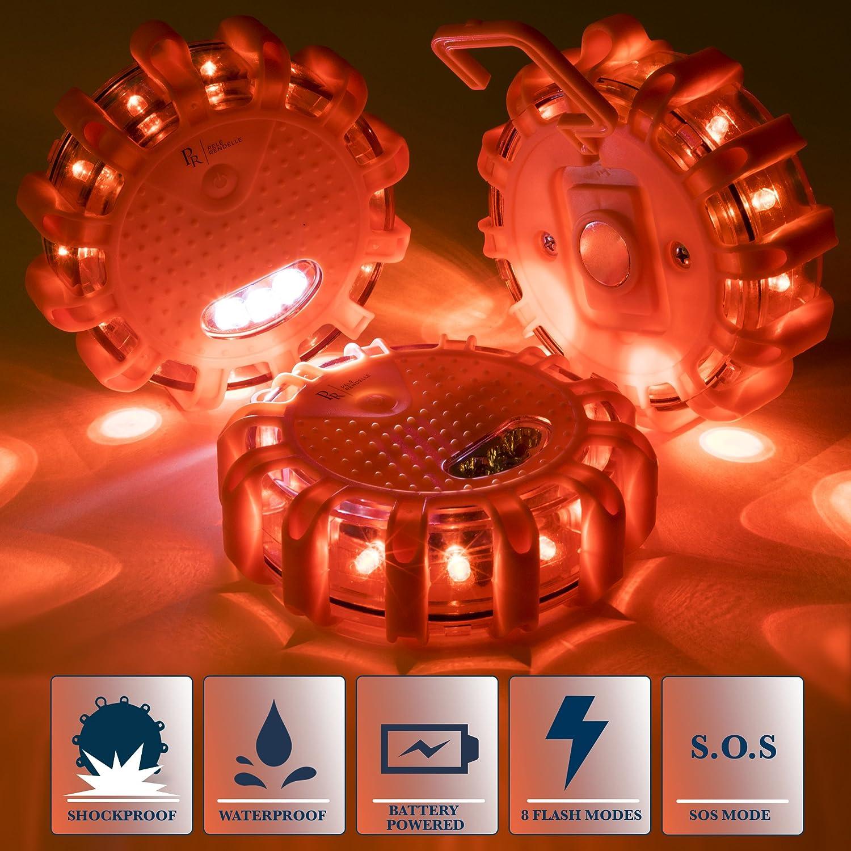 Roadside Safety for Car Truck P.Rendelle Led Road Flares Emergency Light Kit Ideal Gift Set. RV Boat- 3 Beacon Disc Pack with Bonus Magnetic Coiled Flash Light and Storage Bag