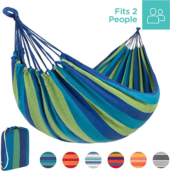 Best Choice Products 2-Person Indoor Outdoor Brazilian-Style Cotton Double Hammock Bed w/Portable Carrying Bag - Blue