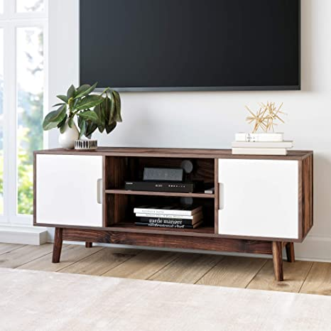 Amazon Com Nathan James Wesley Scandinavian Tv Stand Media Console With Cabinet Doors Brown White Furniture Decor