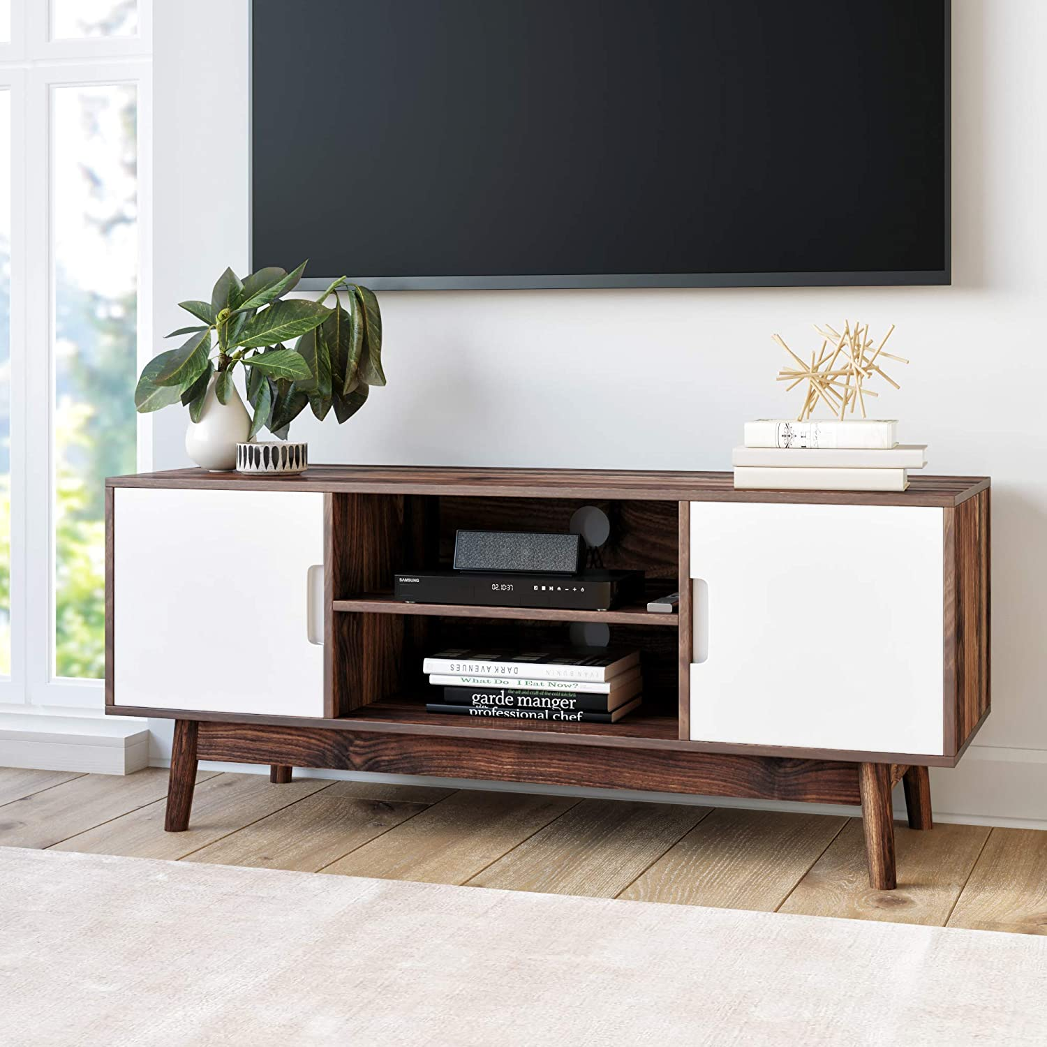 Nathan James 74401 Wesley Scandinavian TV Stand Media Console with Cabinet Doors, Walnut Brown