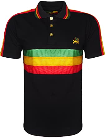9cc48c8cdc Men's Rasta Polo Bold Striped T Shirt Short Sleeves with Lion of Judah Logo  On Front: Amazon.co.uk: Clothing