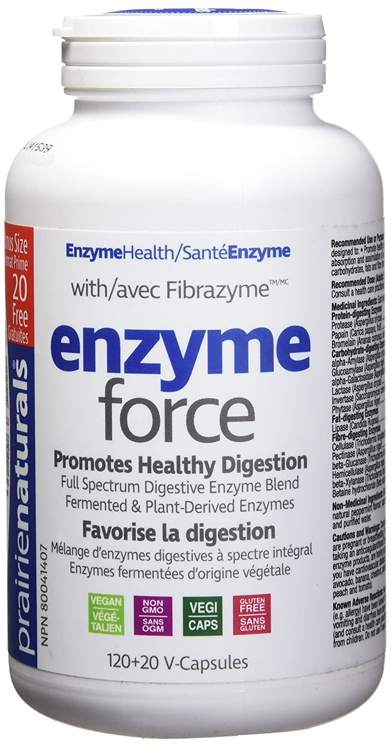 Prairie Naturals Enzyme Force with Fibrazyme Digestive Bonus Free  Vegetarian Capsules, 140 Count