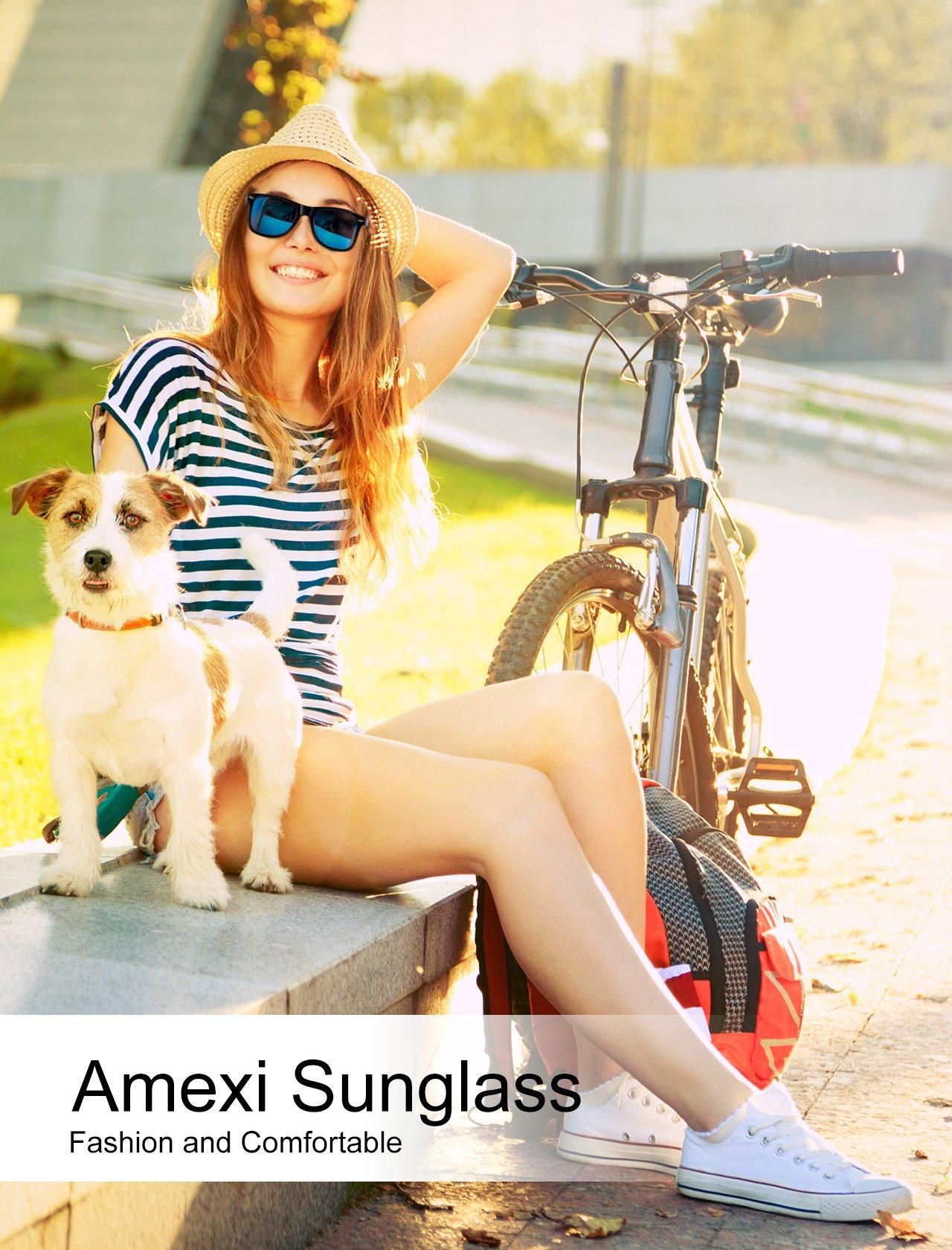 Herren Sonnenbrille Polarisierte UV400 sonnenbrille herren verspiegelt Schutz Unisex Sonnenbrille schwarz blaue Linse (blau)