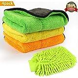 Auto Reinigungstuch, Gifort 840gsm Auto Tücher Mikrofasertücher und Weicher Korallen Auto Wasch Handschuh mit zum Waschen/ Putzen/ Polieren und Trocknen von Fahrzeugen (4 Pcs)