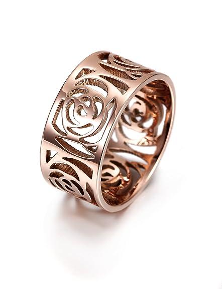 Wistic - Anillo de acero inoxidable para mujer, tono de oro ...
