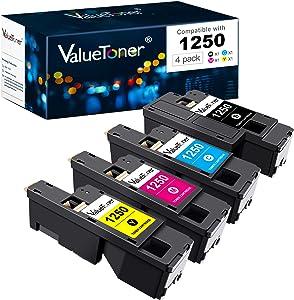 Valuetoner Compatible Toner Cartridge Replacement for Dell 1250 810WH C5GC3 XMX5D WM2JC to use with 1250c C1760nw 1350cnw 1355cn 1355cnw C1765nf C1765nfw (Black, Cyan, Magenta, Yellow, 4 Pack)