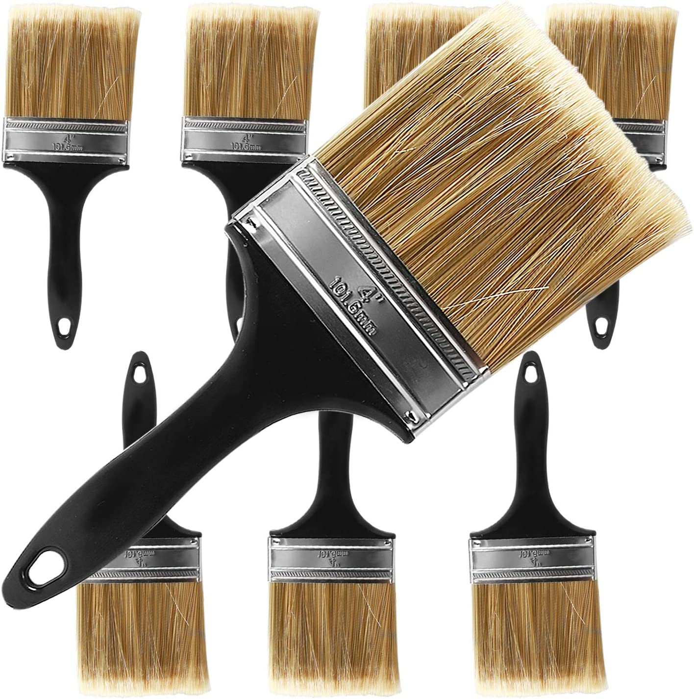 KINJOEK Paint Brush 8 Packs 4 Inch, Home Wall Trim House Chip Paintbrush Set, Professional Multi-Purpose Home Repair Tools for DIY Paint Stains Varnishes Glues Acrylics Cabinet Deck Fence Edge Door