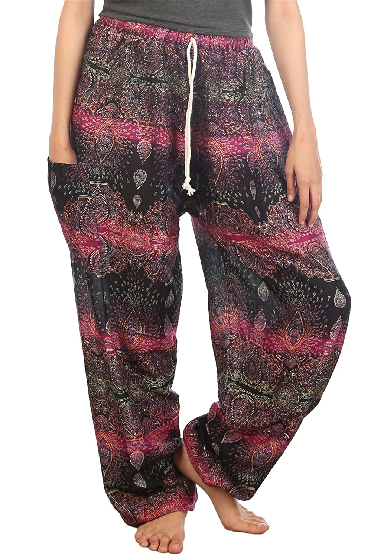 Lofbaz Pantaloni Coulisse da Donna Harem Boemo Bohemien Casual Aladdin Spiaggia