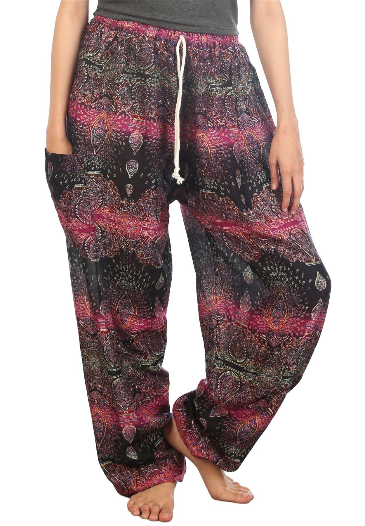 Lofbaz Women's Drawstring Paisley Harem Boho Genie Pants Purple L