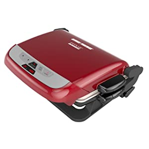 George Foreman 5-Serving Multi-Plate Evolve Grill System with Ceramic Plates and Waffle Plates, Red, GRP4842RB