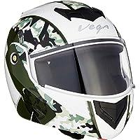 Vega Crux DX Camouflage Flip-Up Helmet (White and Battle Green, Medium)