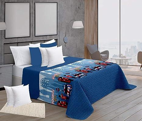 ForenTex Colchas Londres Cama 90 Reversible con Funda Relleno Cojines 50x50 cm, Azul, Pack, 3