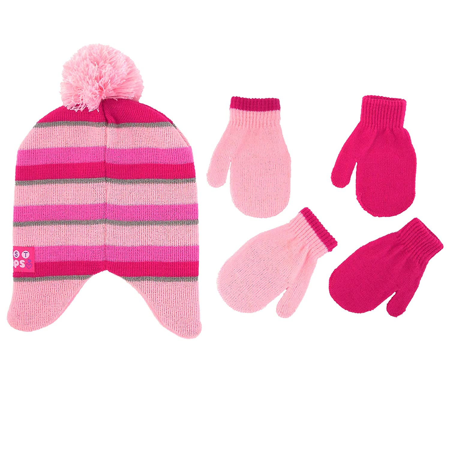 Nickelodeon Little Girls Paw Patrol Character Hat and 2 Pair Mittens or Gloves Cold Weather Set Age 2-7