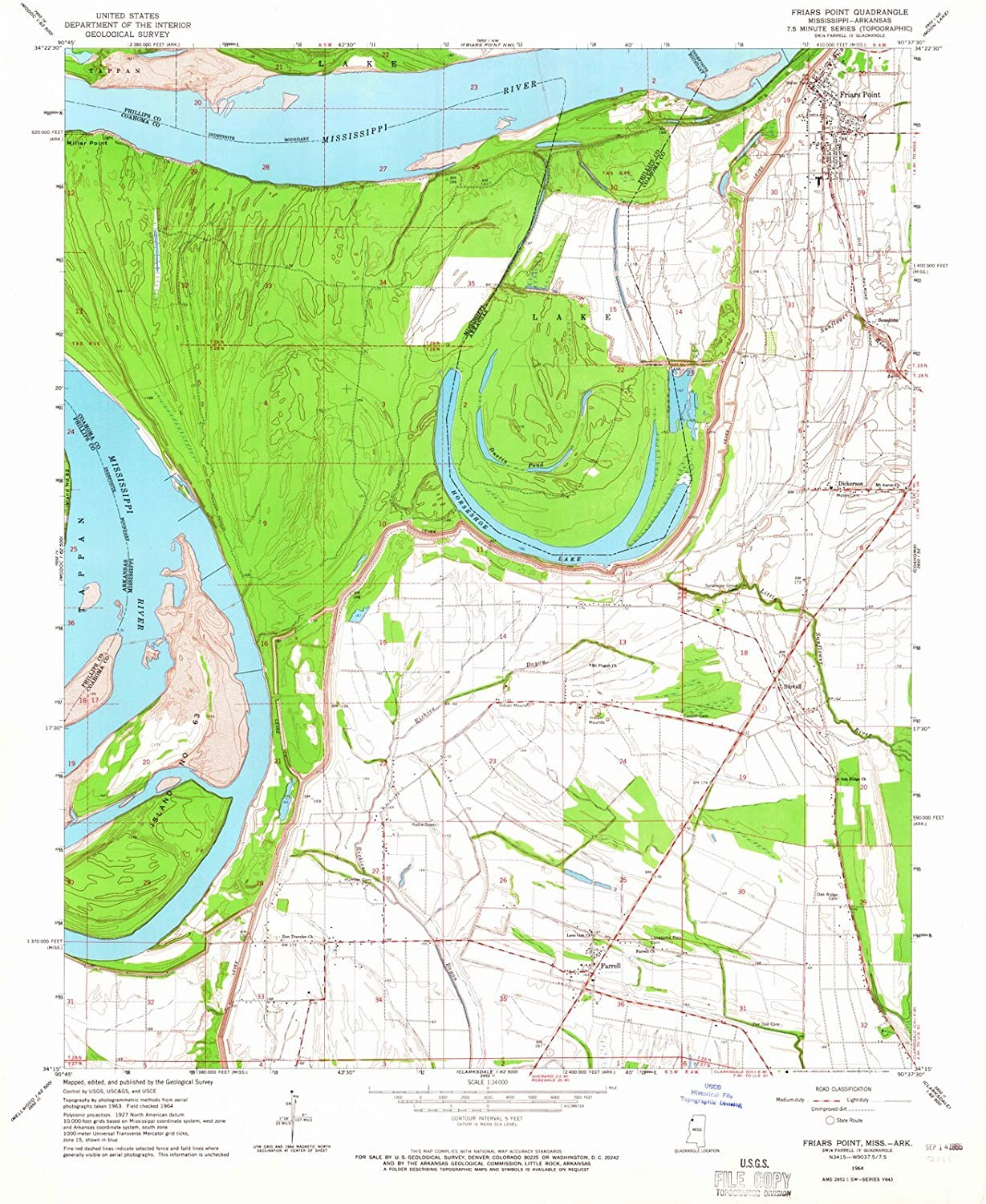 Amazon com: Mississippi Maps - 1964 Friars Point, MS USGS