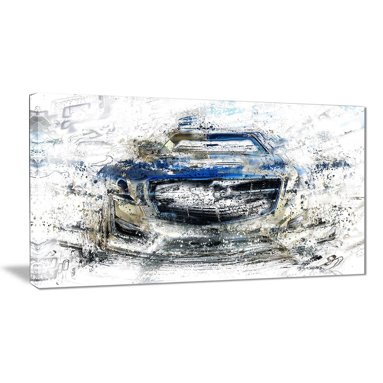 Digital art PT2648-271 Abstract Muscle Car Canvas Art Print 48x28-4 Equal Panels 0