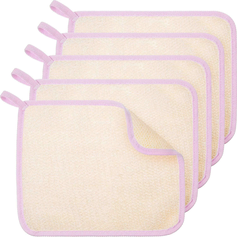 5pcs Exfoliating Wash Cloths for Body Scrub and Face Clean Soft Bath Towels