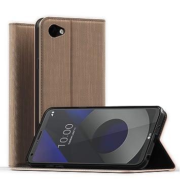 CELLONIC® Carcasa Compatible con LG Q6 Cuero PU Flip Cover Tapa Funda Flip Tipo Libro Flip Case con Ranuras para Tarjetas Dorado