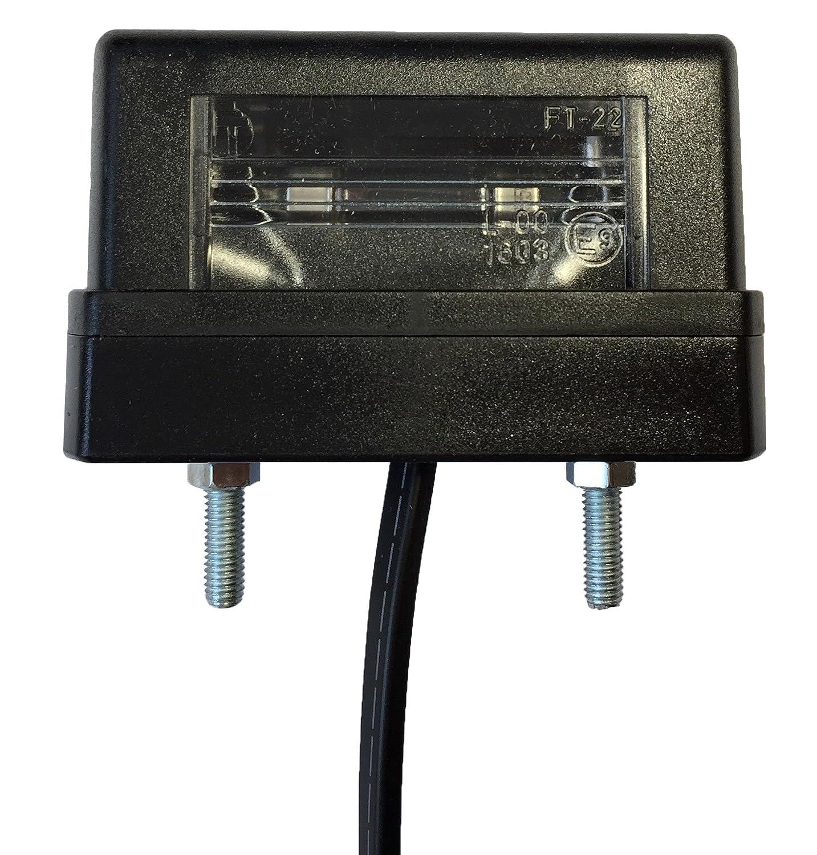 Verbinder 1x Anh/änger Kennzeichenbeleuchtung 12V Kennzeichenleuchte mit 1,5m P2G-Flachkabel