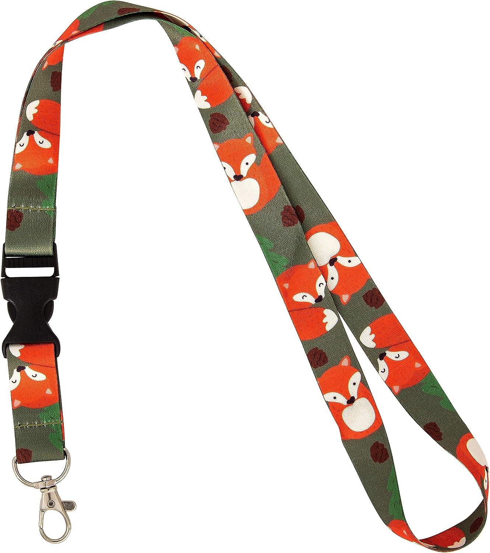 Fox Animal Lanyard Badge ID Car Keys Keychain Souvenir Holder Nurse Doctor Teacher Office Detachable Breakaway Snap Buckle (Design 2)