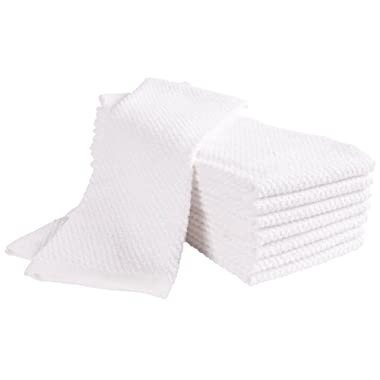 Pantry Montclair Kitchen Towels (Set of 8, 16x26 inches), 100% Cotton, Ultra Absorbent Terry Towels, Home Decor - White
