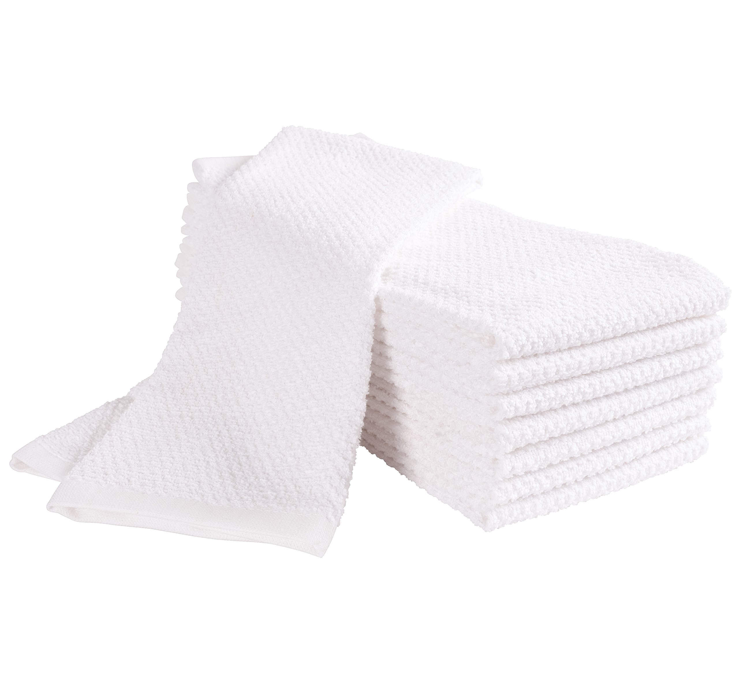KAF Home Pantry Montclair Kitchen Towels (Set of 8, 16x26 inches), 100% Cotton, Ultra Absorbent Terry Towels, Home Decor - White