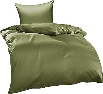 2 tlg Jersey Bettwäsche 155x220 cm braun feine Mako Baumwolle Garnitur