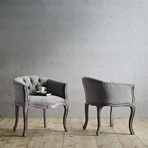 Modway Crown Vintage French Upholstered Fabric Fully Assembled Dining Armchairs, Two, Light Gray