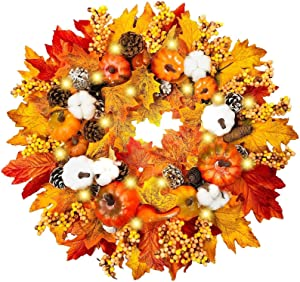 "TURNMEON 22"" Fall Wreath for Front Door Fall Decoration with 30 Lights Pumpkin Maples Leaf Pine Cone Berry Battery Operated Autumns Harvest Fall Thanksgivings Decoration Indoor Outdoor(Warm Light)"