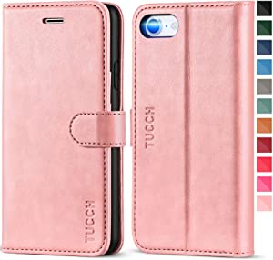 TUCCH iPhone SE 2020 Case, iPhone 8 Wallet Case, Premium PU Leather iPhone 7 Folio Case with Kickstand Card Slot Magnetic Flip Cover [TPU Interior Case] Compatible with iPhone SE2/8/7, Rose Gold