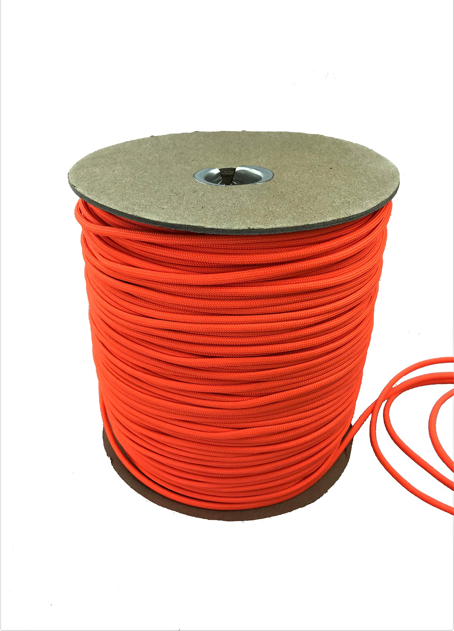Paracord 550 Type III 7 Strand Multi-Purpose Parachute Cord in 1000 and 100 Foot Spools. Used for Camping, Hiking, Boating, Survival, and Crafting. 100% Nylon-Made in the USA (Orange, 1000)