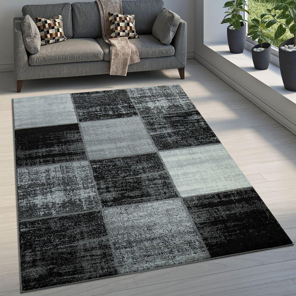 Paco Home Designer Teppich Modern Kurzflor Karos Speziell Meliert Grau Schwarz Weiß, Grösse 200x290 cm