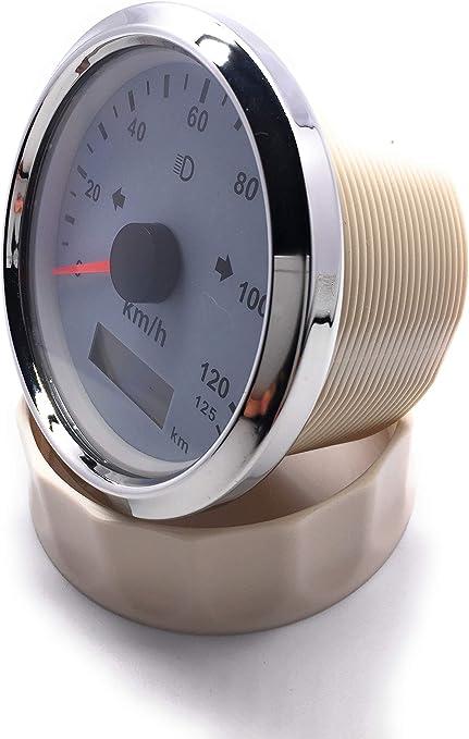 con luz de fondo 9-32V 85mm ELING Veloc/ímetro GPS universal 125 km//h Odo ajustable 3 3//8 pulgadas
