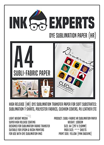Ink Experts Subli-Fabric - Papel de sublimación (A4, alta liberación, 100 g/m²) 100 Sheets