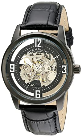 eb6af7b55 Image Unavailable. Image not available for. Color: Stuhrling Original Men's  877.06 Winchester Automatic Self-Wind Skeleton Black Genuine Leather Strap  Watch