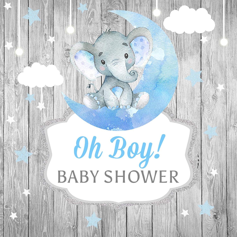 Elephant Backdrop for Baby Shower candy table Birthday Party,Baby Blue Gray Peanut 4x6 Moon Stars Digital Backdrop 4x4